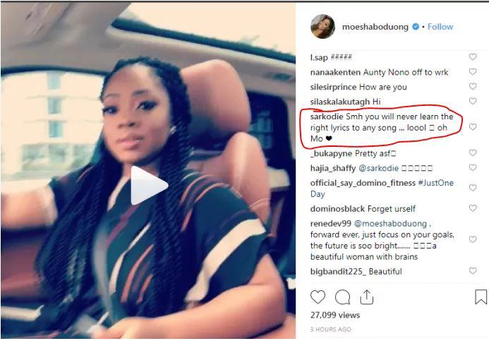 Sarkodie mocks Moesha Boduong for messing-up lyrics of 'Moesha' song