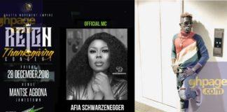 """Afia Schwarzenegger announced as host for Shatta Wale's """"Thanksgiving"""" concert"""