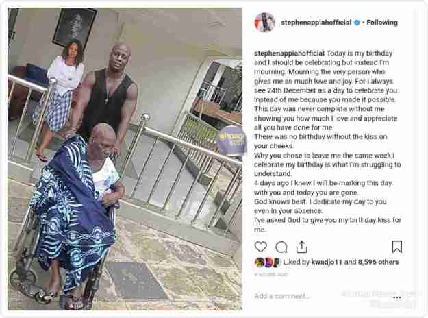 Stephen Appiah posing with his  mother who is in a  wheelchair