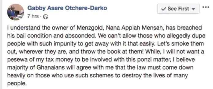 Gabby Otchere Darko facebook post screenshot