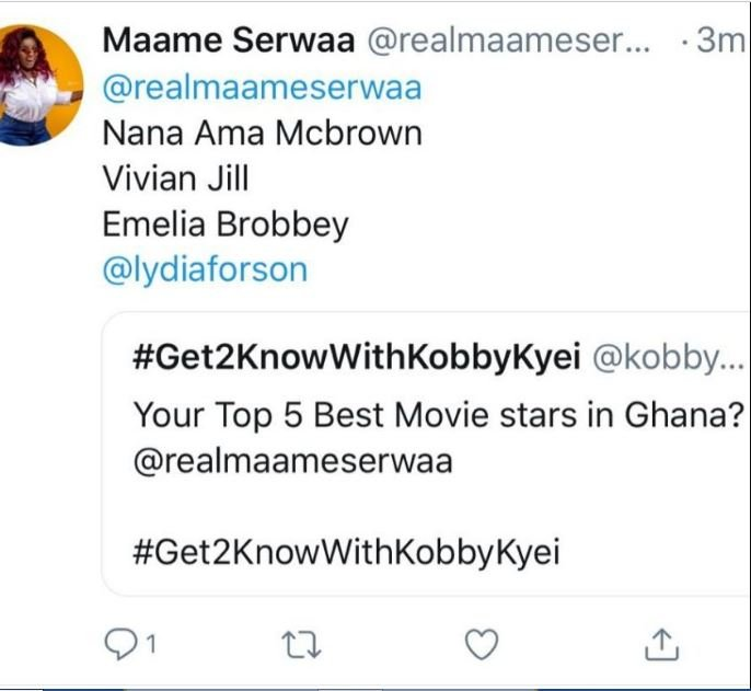 Maame Serwaa lists her top 4 movie stars in Ghana and it's very surprising