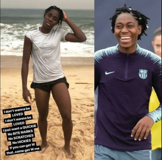 """""""I don't wanna be loved, I just want a quickie"""" - Female footballer"""