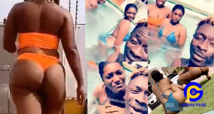 Video:After dumping Michy, Shatta Wale chills with big b00ty half na*ked chicks his swimming pool