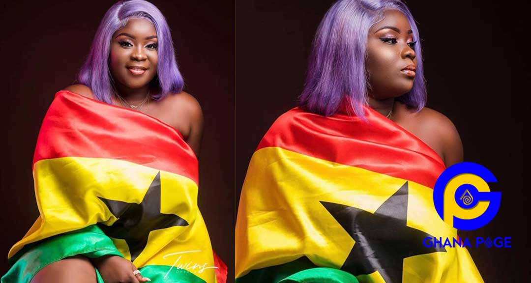 Photos: Patriotic Maame Serwaa rocks Ghana flag to celebrate Independence Day and it's soo cute