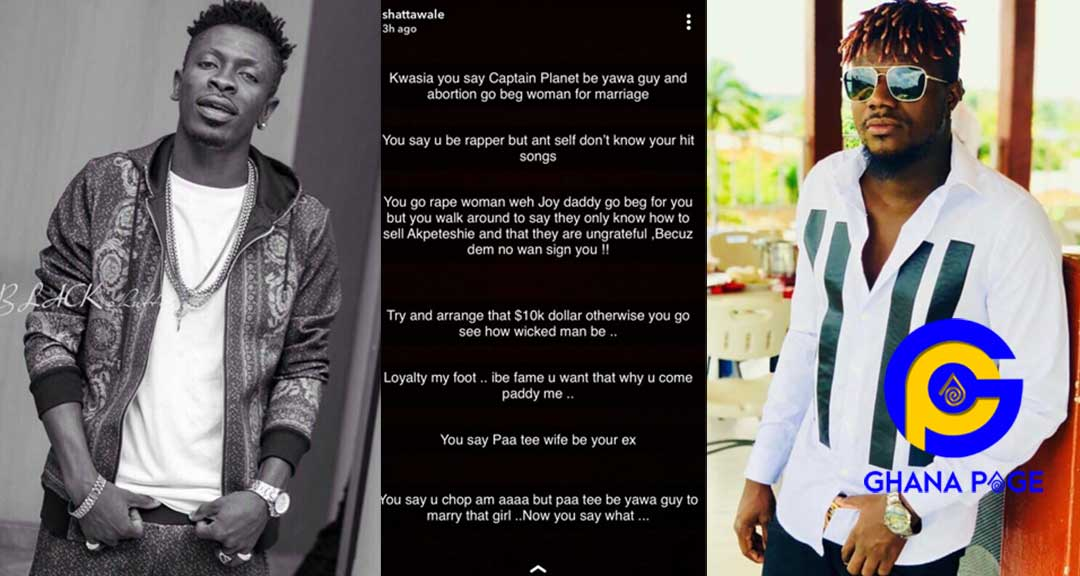Shatta Wale turns woman; reveals every filla he has ever shared with Pope Skinny online[SEE]