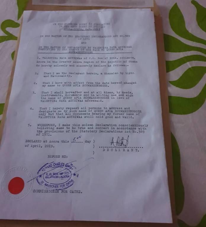 Afia affidavit - Afia Schwarzenegger officially changes her real name