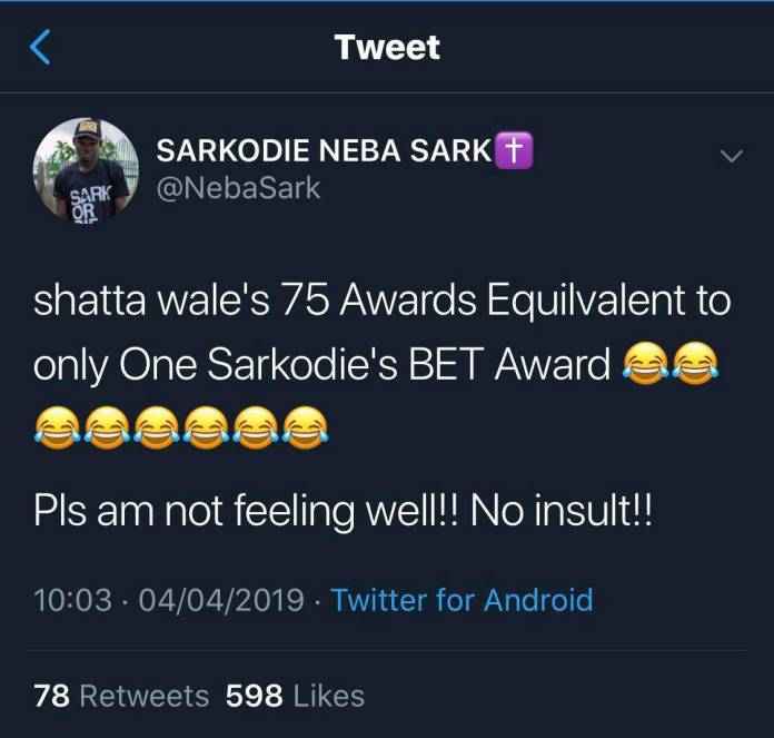 Shatta Wale mocked Sarkodie - Shatta Wale's 75 awards will be equivalent to Sarkodie's 1 BET Award-Fan