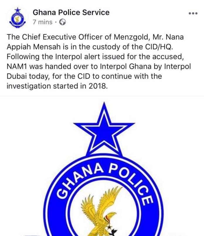 Arrest Of Nana Appiah Mensah