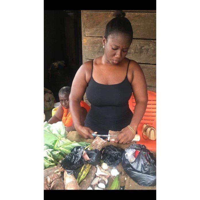 Nana Akosua Dansoa1 - Meet the beautiful lady who helps her mother to sell cassava