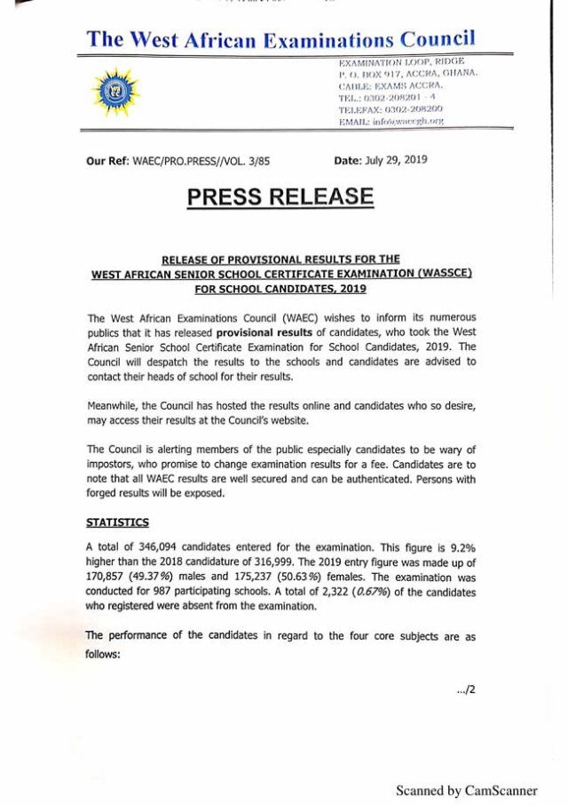 2019 WASSCE Results