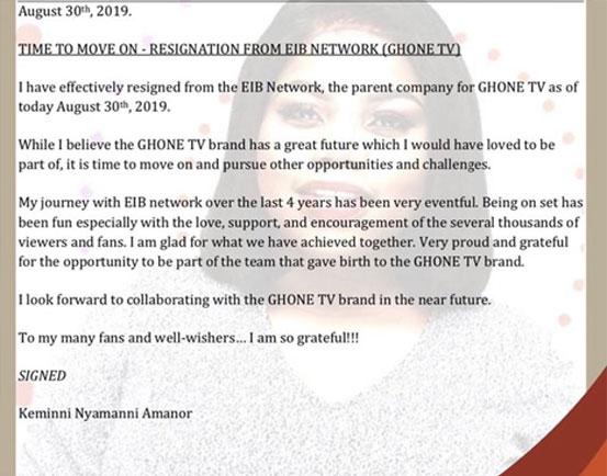 Keminni Amanor quits GHOne Tv 4