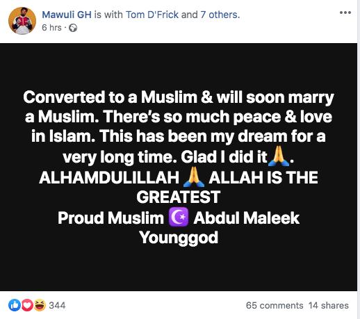 Just 3 reasons why AMG Mawuli YoungGod became a Muslim 1