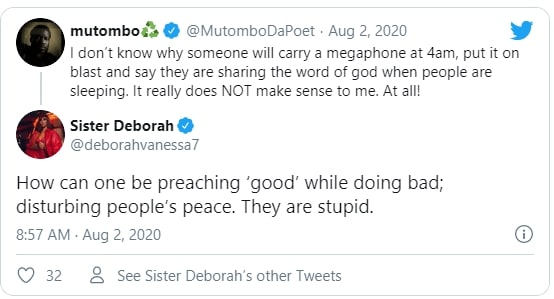 Sister Derby tweet - The pastors who preach at dawn are noisemakers and stupid – Sister Derby
