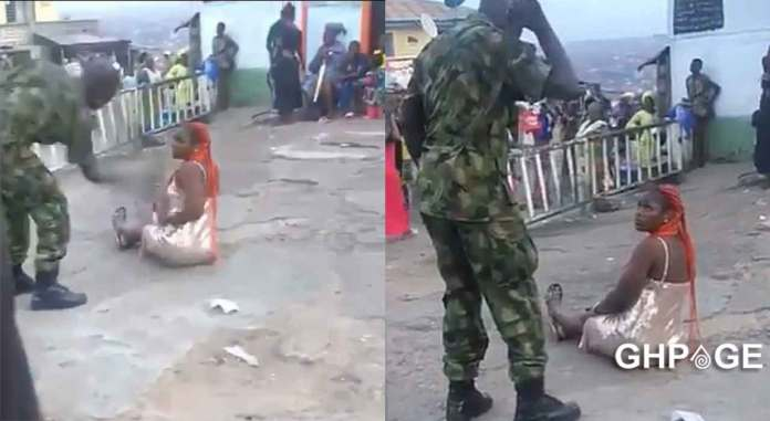Nigerian lady flogged by soldier