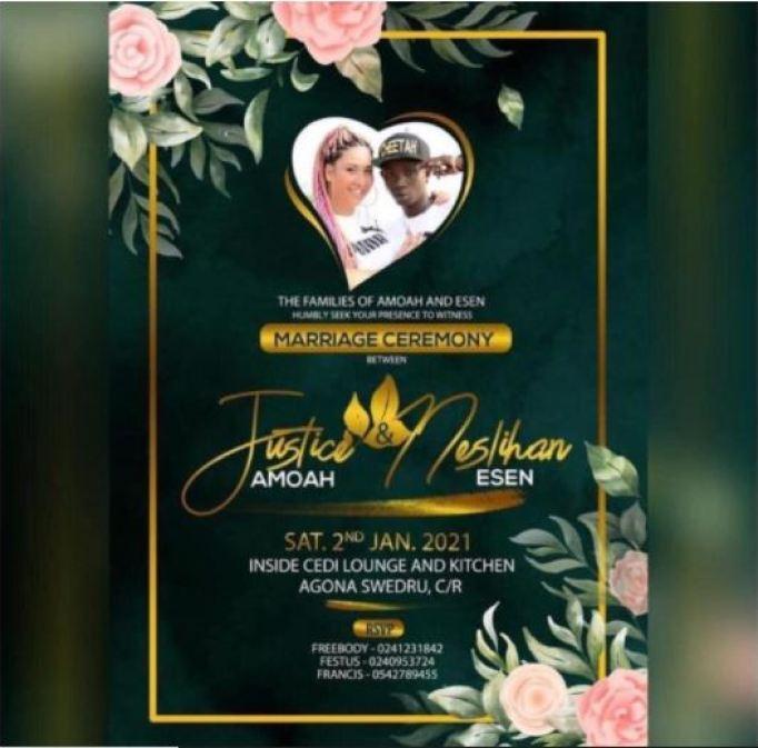 Patapaa and girlfriend's wedding invitation