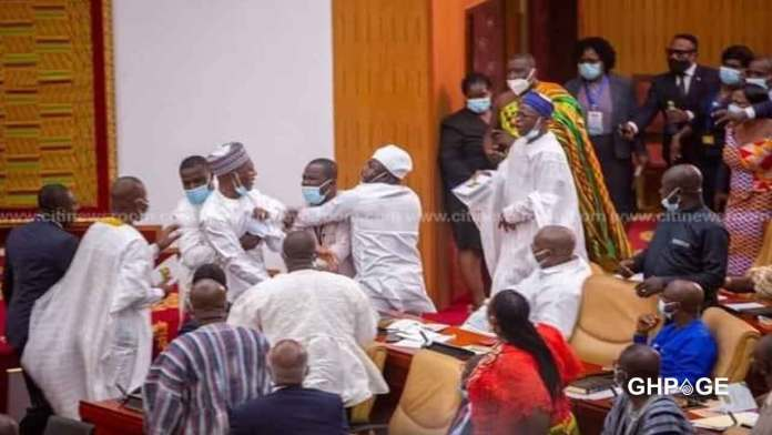 Exchange of blows in parliament as NPP and NDC MPs fight over who takes Majority side