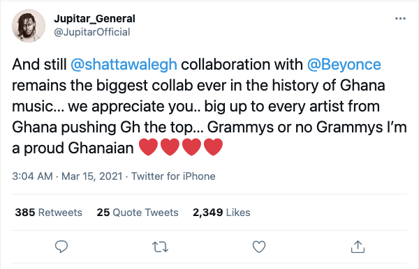 Shatta Wale's collaboration with Beyonce is the biggest in Ghana's history – Jupitar 2