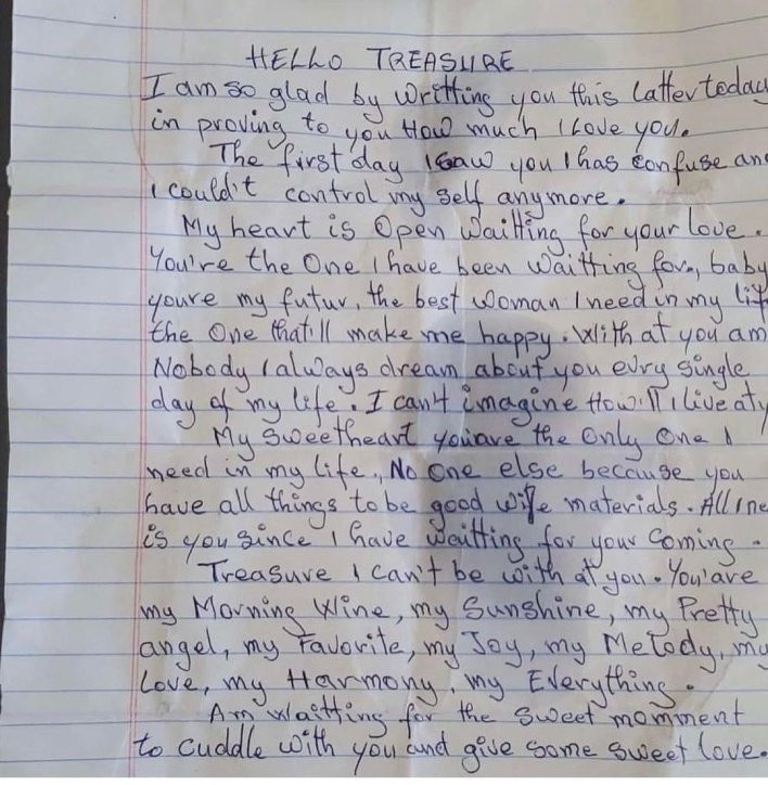 A 25-year-old carpenter arrested for allegedly writing a love letter to a 13-year-old