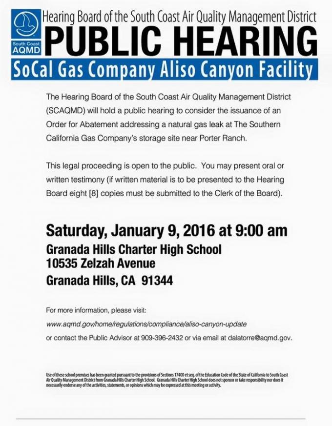 Aliso Canyon Gas Leak Order of Abatement Meeting