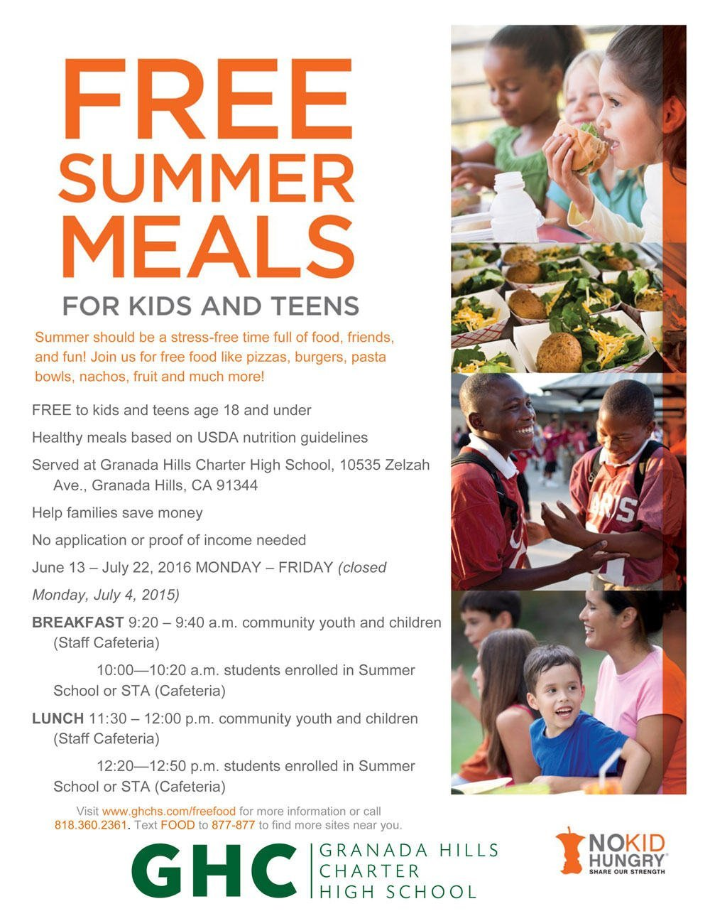 Free Summer Meals for Kids and Teens Age 18 and Under!
