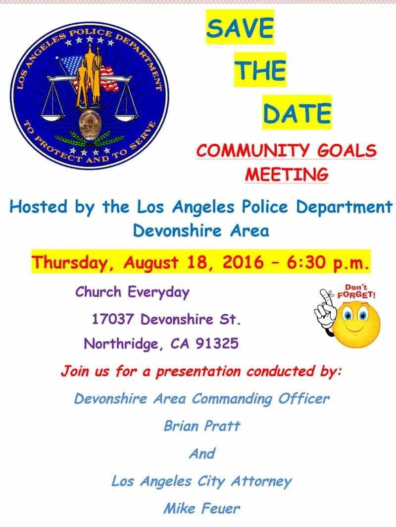LAPD Devonshire Division Semi-Annual Community Goals Meeting – August 18