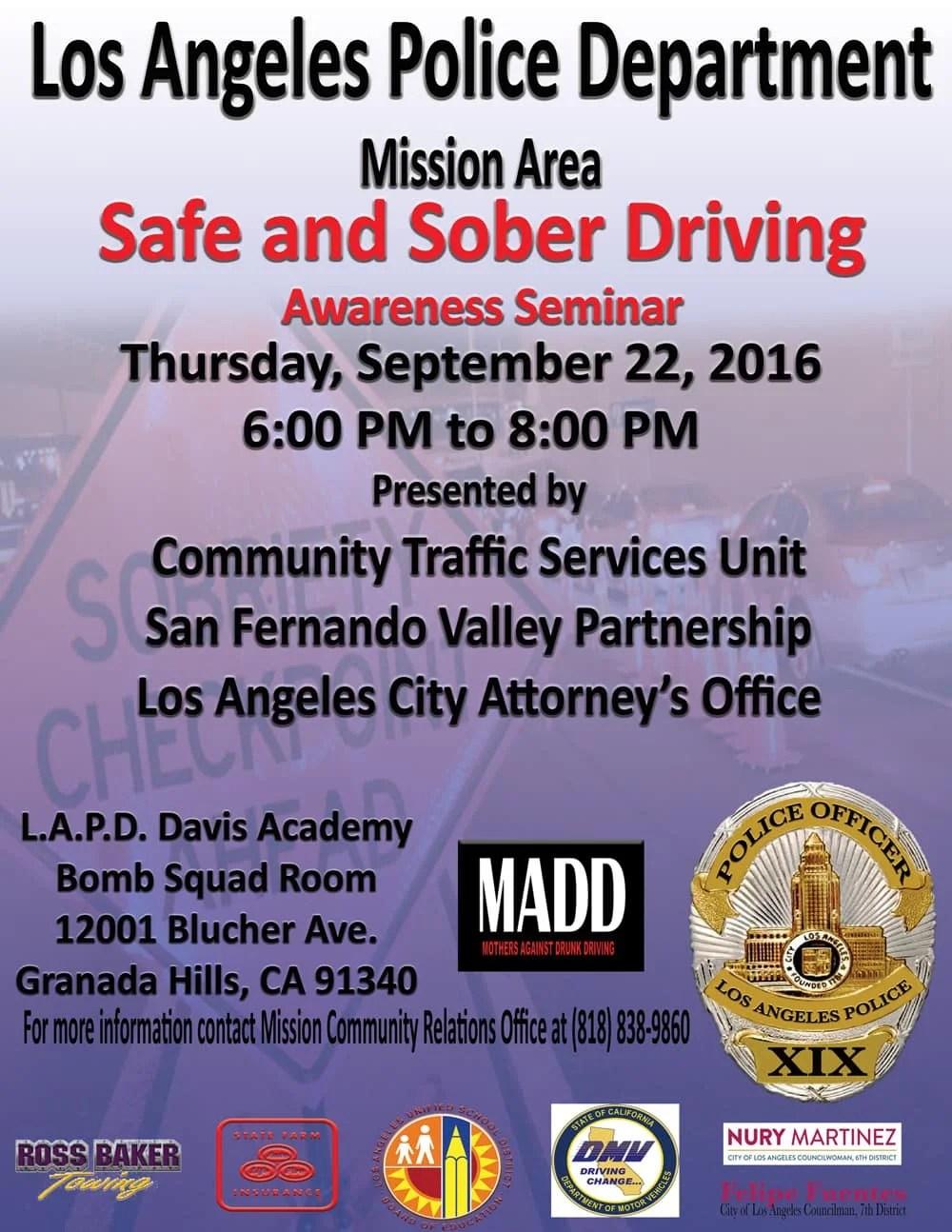 Safe and Sober Driving Awareness Seminar
