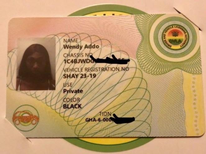 Wendy Shay DVLA Card