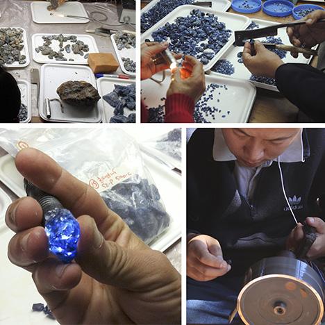 Những viên sapphire từ Baw Mar được phân loại, mài cắt giắc và đánh bóng. Ảnh của Lore Kiefert, Daniel Nyfeler và Hpone-Phyo Kan-Nyunt.