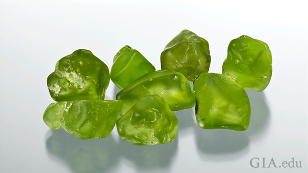 This group of peridot rough is from San Carlos, Arizona. Gift of John and Patricia Furhbach. Photo by Robert Weldon/GIA