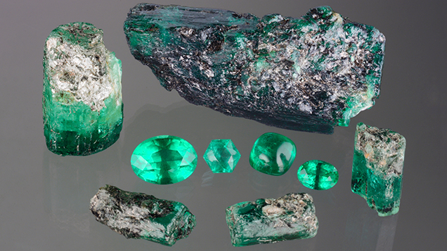 This suite of untreated emeralds is from a new find in Ethiopia's Seba Boru district. The largest faceted stone weighs 10.64 ct. The largest rough crystal weighs 63.12 g. Photo by Robison McMurtry, courtesy of Michael Nemeth Inc.