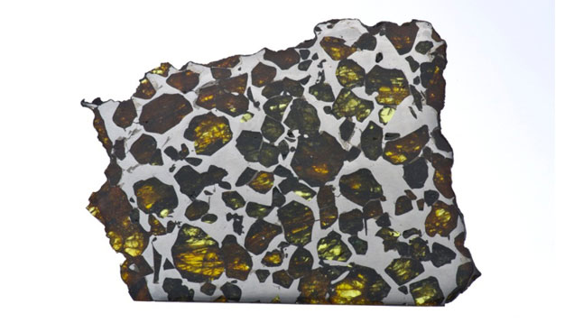 A section of the translucent Esquel meteorite reveals a kaleidoscope of peridot crystals from outer space. Courtesy of Robert A. Haag; photo by GIA/Robert Weldon.