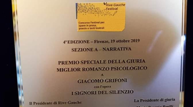 Il romanzo I Signori del Silenzio vince il premio speciale Miglior Romanzo Psicologico al Festival Rive Gauche di Firenze