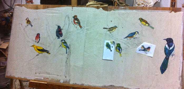 Progettazione pitture a mano stile vecchie incisioni libri di ornitologia per testiera letto