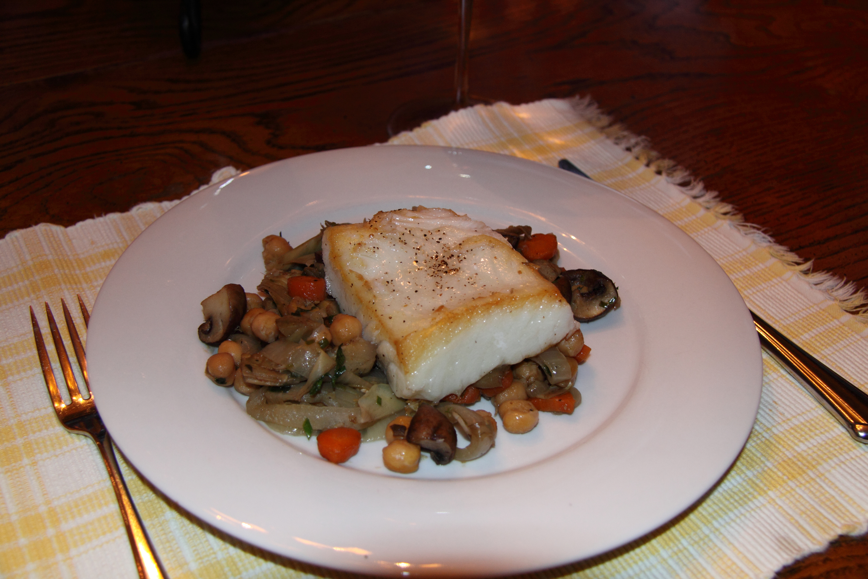 Sea Bass with Artichokes ans Chickpeas