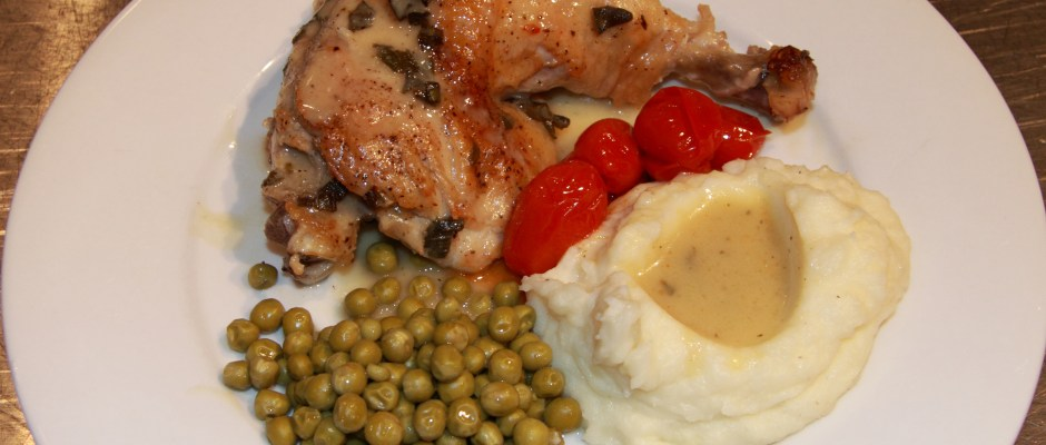 Chicken Fricassee with Garlic and Sage