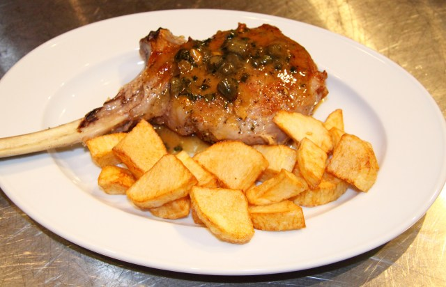 roasted Veal Chop with Capers and Cornichons