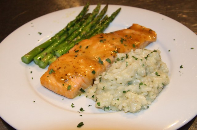 Salmon with Parmesan, Shallot Risotto