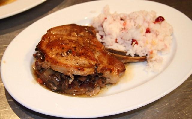 Pork Chops with Cranberries, Mushrooms, Chestnut Stuffing