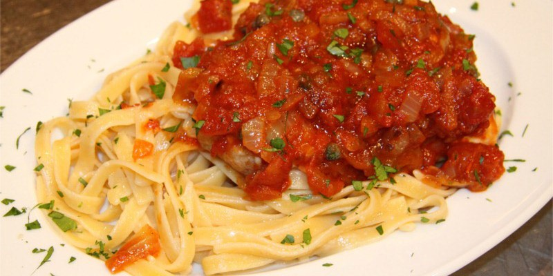Swordfish with Wine, Tomatoes, Capers and Fettuccine