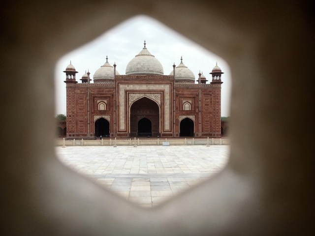 Looking at the Mosque from inside the Taj Mahal