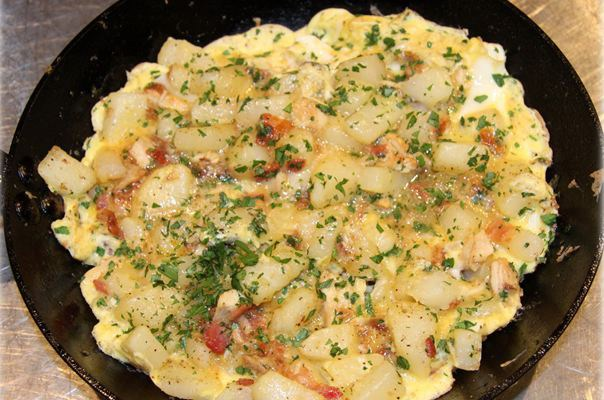 Potatoes, Bacon, Chicken Omelette