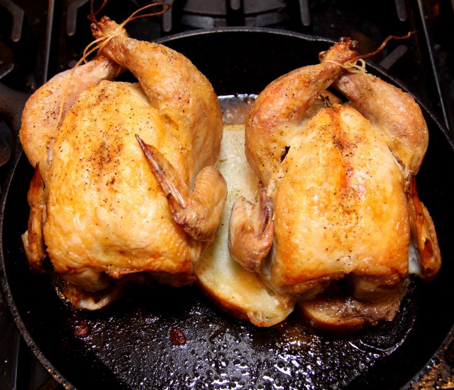 Cornish hen sitting on the slices of bread. All the fat rendered is absorbed by the bread.