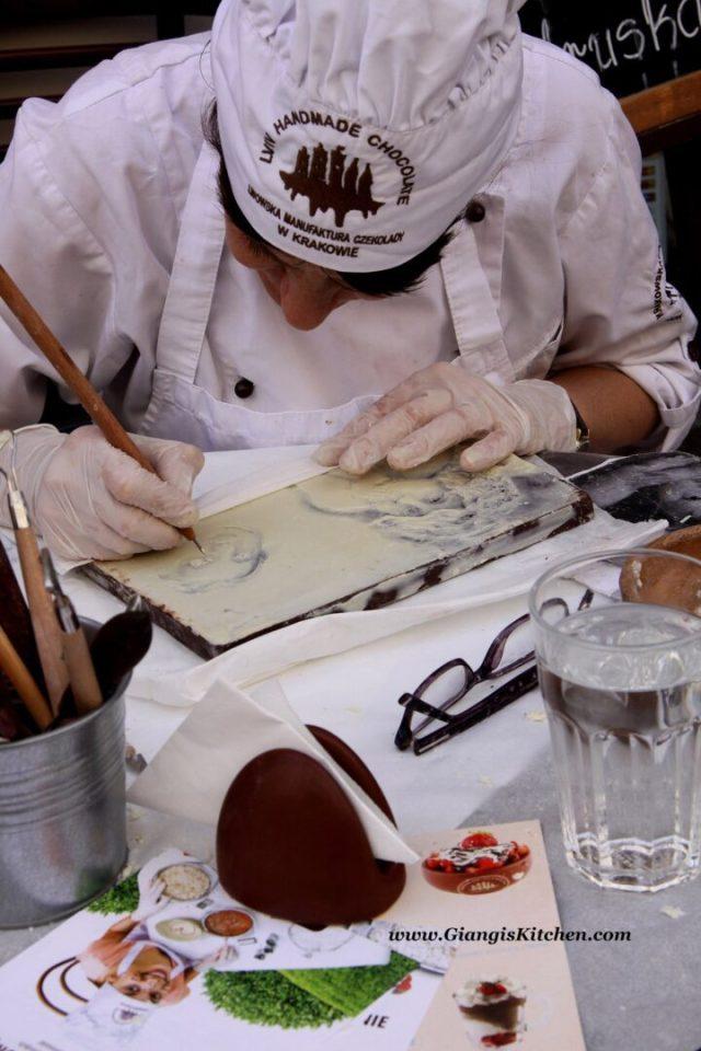 chocolate drawing artist