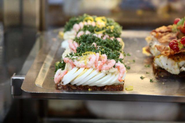 open face egg shrimps sandwich