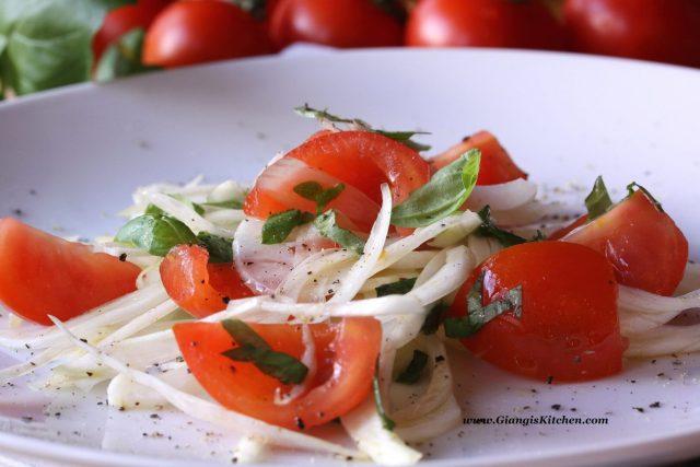 fenel, tomatoes basil salad