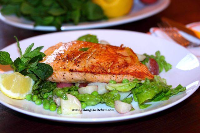 salmon peas mint