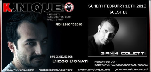 "Gianni Coletti guest @ ""Kunique Too Beat"" (Radio M2O) Sunday February 17"