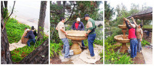Photos of setting up a fountain, Fountain Installation