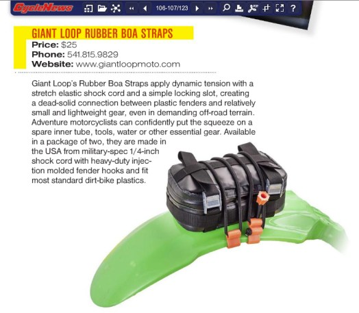 Giant Loop Rubber Boa Straps in Cycle News magazine