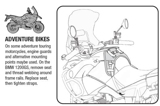 Fandango Tank Bag, Diablo Tank Bag installation on BMW GS